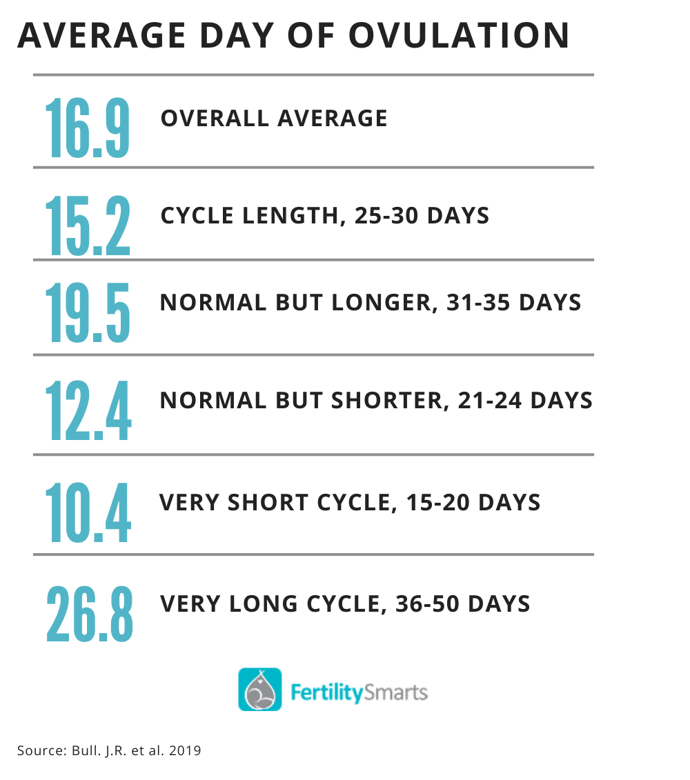 Day of ovulation has been found to range on average from 12.4 days to 26.8 days.