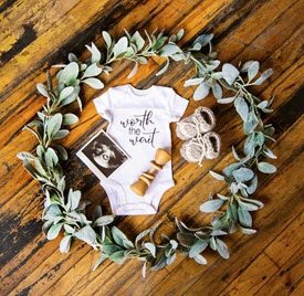 IVF pregnancy announcement with ultrasound image