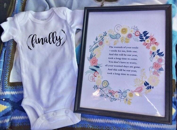 """Baby onesie """"finally"""" ivf pregnancy announcement"""